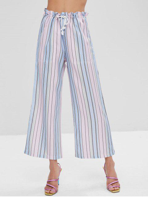 lady Ombre Striped Wide Leg Pants - MULTI L Mobile