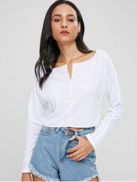 trendy Cropped Ribbed Plain Top - WHITE M Mobile