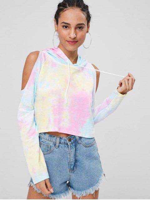 shop Cold Shoulder Tie Dye Hoodie - MULTI L Mobile