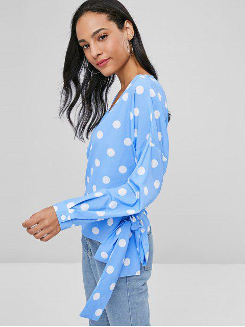 unique Knotted Wrap Polka Dot Top - CRYSTAL BLUE M Mobile