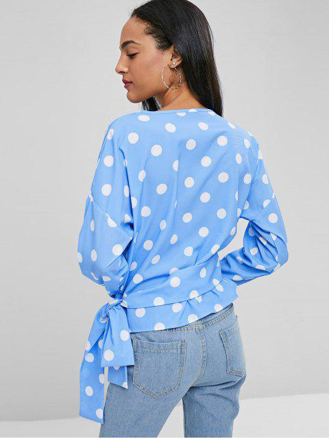 sale Knotted Wrap Polka Dot Top - CRYSTAL BLUE L Mobile