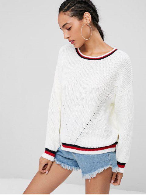women's Contrast Stripe Chunky Sweater Jumper - WHITE S Mobile