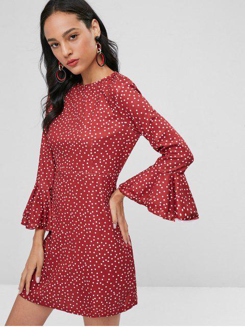 Robe à Pois Manches Longues Menottes Cloche - Rouge Vineux M Mobile
