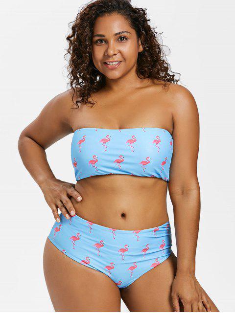 Bikini tipo bandeau con estampado de flamenco - Azul Mariposa  L Mobile