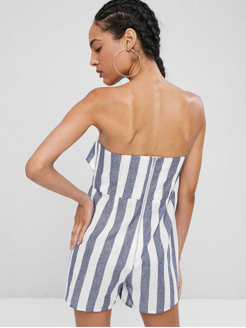 buy Tie Front Stripes Strapless Romper - GRAY L Mobile