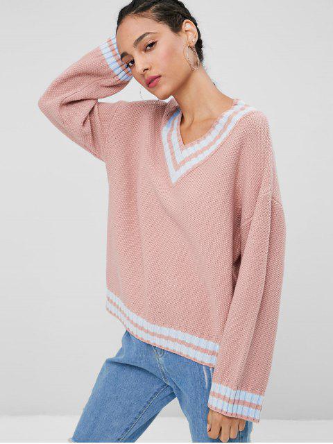 Loser V-Ausschnitt Pullover - RAL3017 Rosa Eine Größe Mobile