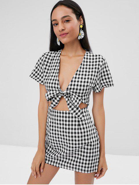 hot Tie Front Cut Out Plaid Dress - BLACK S Mobile