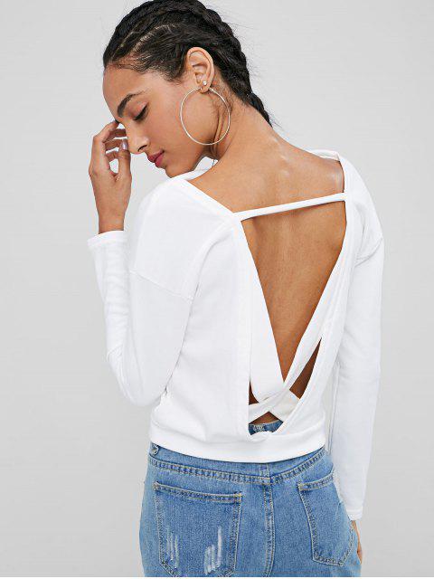 womens Cross Back Slash Neck Sweatshirt - WHITE L Mobile