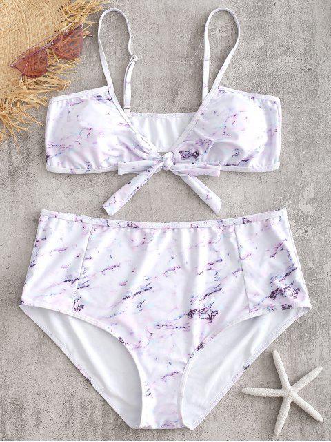 Set de Bikini de Mármol Anudado Plus Size - Blanco 2X Mobile