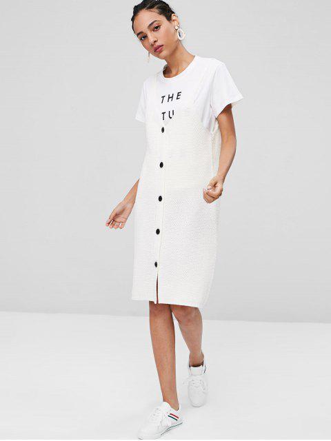 Robe en Pull-over Boutonné et à Encolure en V - Blanc Taille Unique Mobile