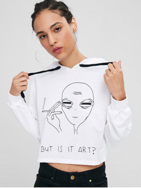 Sweat à Capuche But Is It Art Graphique - Blanc L Mobile