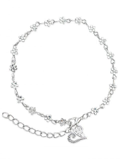 online Minimalist Floral Bead Charm Anklet - SILVER  Mobile