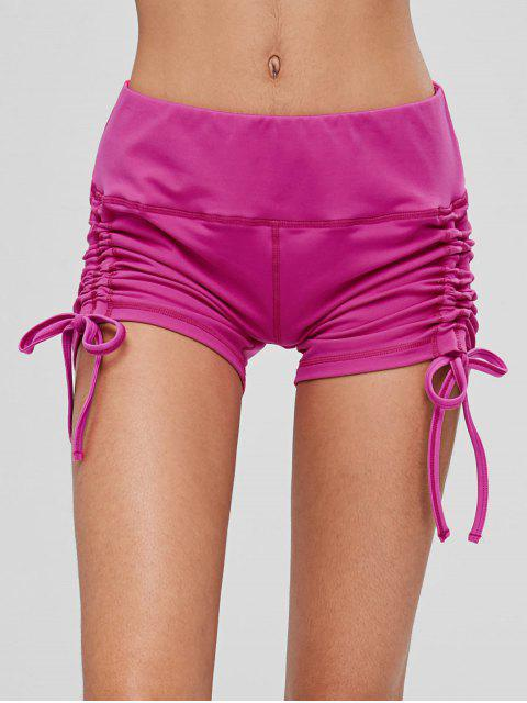 women Drawstring Side Running Compression Shorts - NEON PINK S Mobile