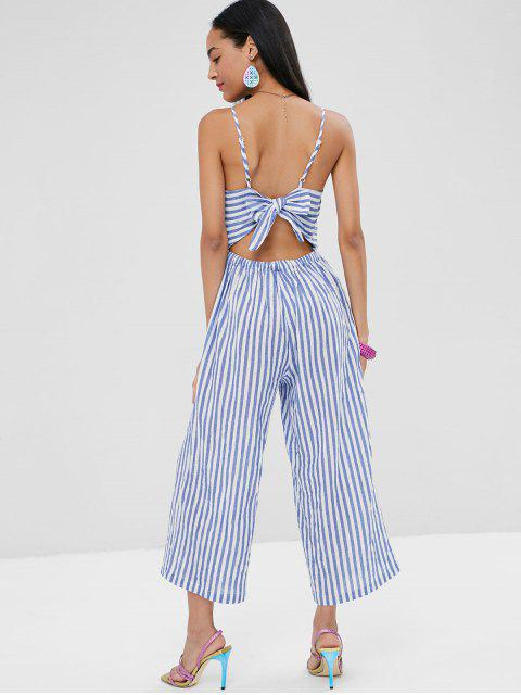 chic Knotted Stripes Cami Jumpsuit - LIGHT STEEL BLUE M Mobile
