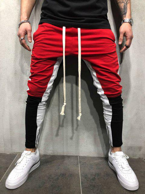 hot Color Block Hem Zipper Track Pants - RED S Mobile