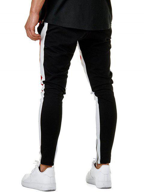 Pantalones Lápiz Color Bloque Cremallera - Rojo XL Mobile