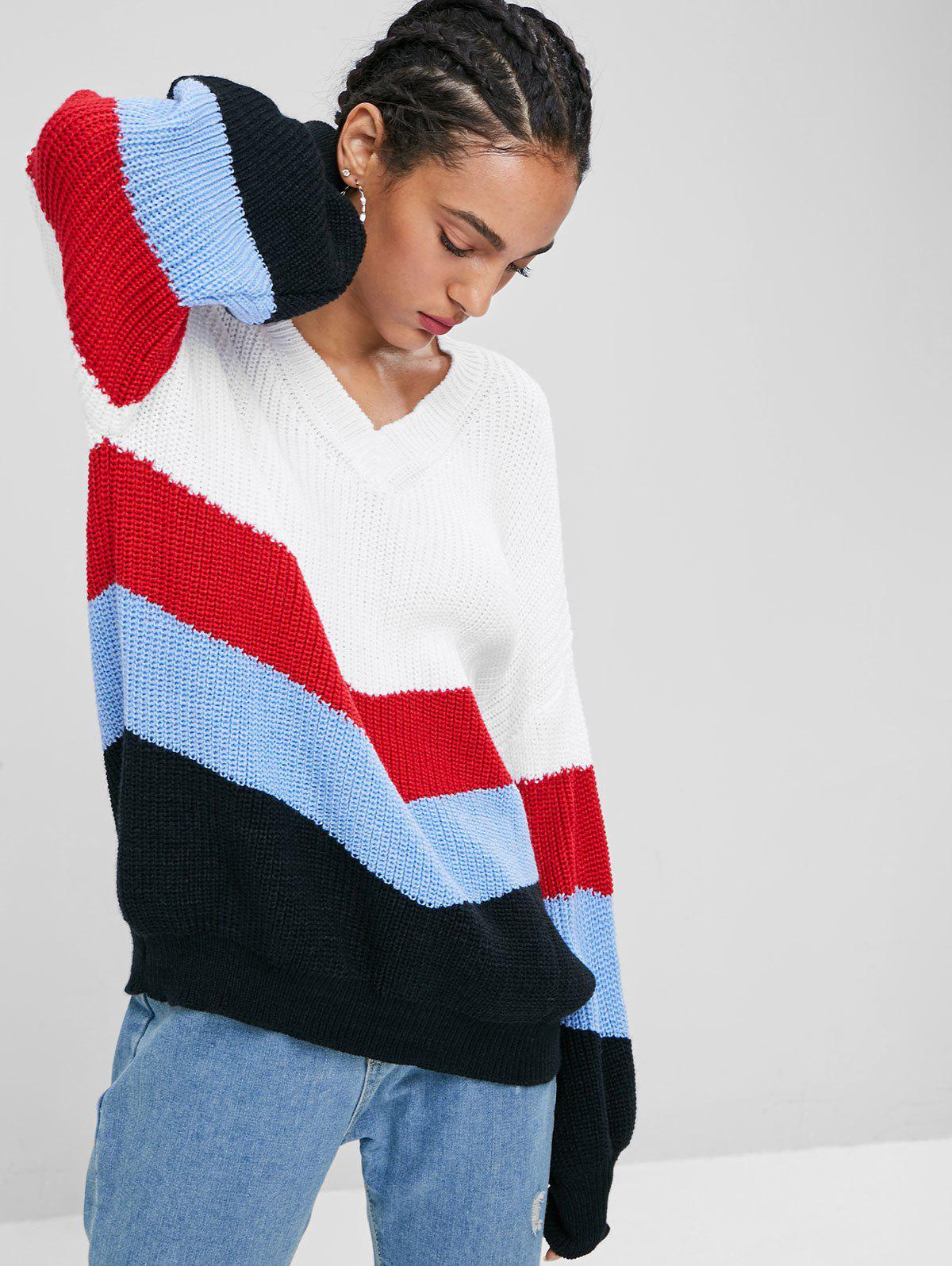 Lantern Sleeve Stripes Sweater