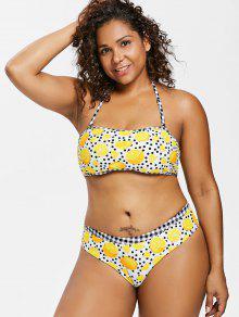 Multicolor De Grande De Estampado Talla Lunares Con Halter 2x Bikini 5wYxF8t