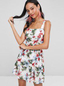Entrecruzado Vestido Vestido Blanco Floral S Floral PxqfnStO
