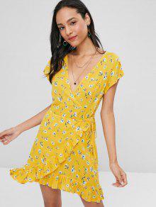 البتلة كم يغرق فستان زهري - المطاط الحبيب الأصفر L
