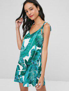 Tropical Print Tie Shoulder Mini Slip Dress - أخضر S
