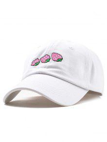 فريدة من نوعها قبعة الفراولة التطريز الفراولة - أبيض