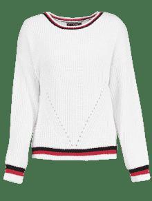 Blanco Contraste Jumper Sweater Stripe Chunky L 0qqPIzS