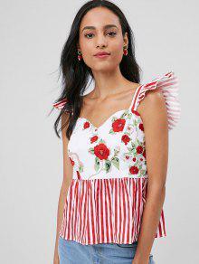 Floral Con M Mangas Top Rojo De Sin Estampado Rayas pZ4qqwCBx