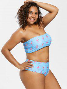 00f3c1b1d25e4 23% OFF  2019 Plus Size Flamingo Bandeau Bikini In BUTTERFLY BLUE ...