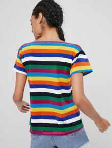 Boat Camiseta Stripe Multi M Boat Rainbow g55wRq