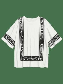 Camiseta Xl Con Casual Blanco Circular Estampada Cuadrada Cuello qqHFrR