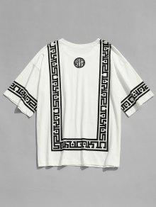Blanco Cuadrada Circular Estampada Casual Camiseta Xl Con Cuello 6PCXYn