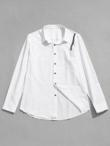 التماس شريط التفاصيل قميص مرقع - أبيض Xl