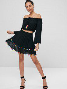 Conjunto Pompoms De Falda Shoulder Y M Negro Off Top rTrpaqf
