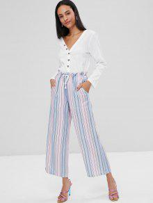 2b34cecac2 45% OFF] 2019 Ombre Striped Wide Leg Pants In MULTI | ZAFUL