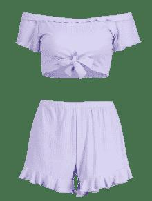 De Anudados Hombro Shorts Conjunto S En El Lavanda Azul 6dRqOZxw