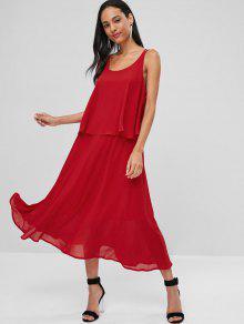 فستان كروس متقاطع بطبقة متقاطعة - أحمر S