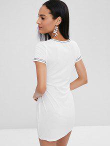 M Blanco Vestido Recortado Anudado Ajustado RWqx1PwH