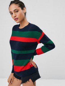 Con De Rayas Jersey Jersey A Punto De Costuras M Multicolor v7w67YEq