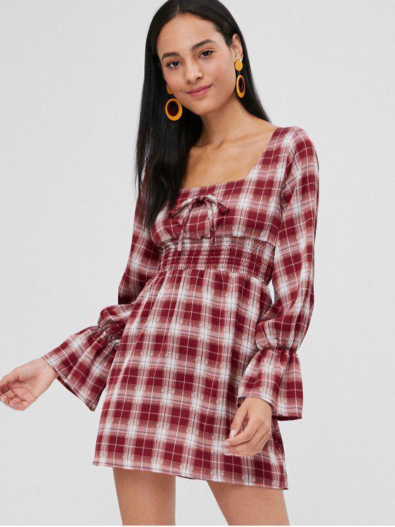Robe à taille Mini à carreaux et col carré - Rouge M
