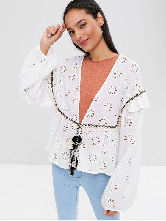 fashion Long Sleeve Tie Front Anglaise Broderie Top - WHITE M