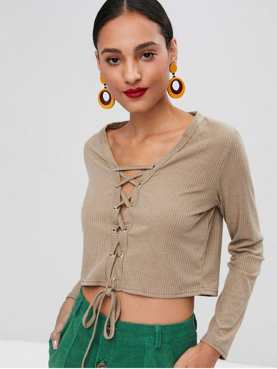 trendy Ribbed Lace-up Top - TAN S