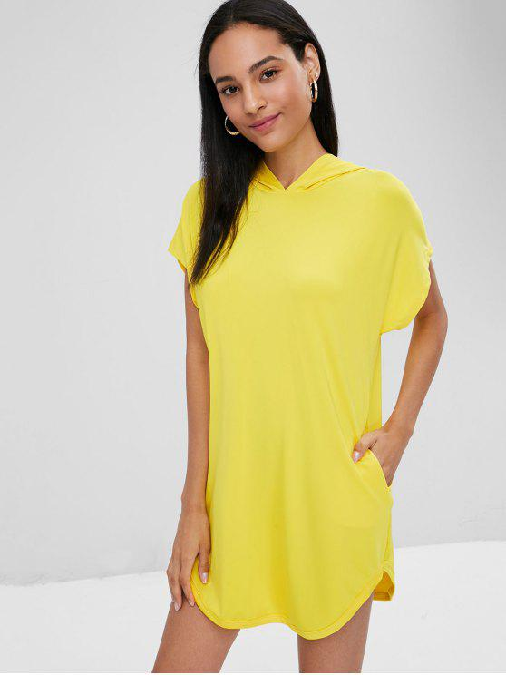 womens Hooded Longline T-shirt - CORN YELLOW XL