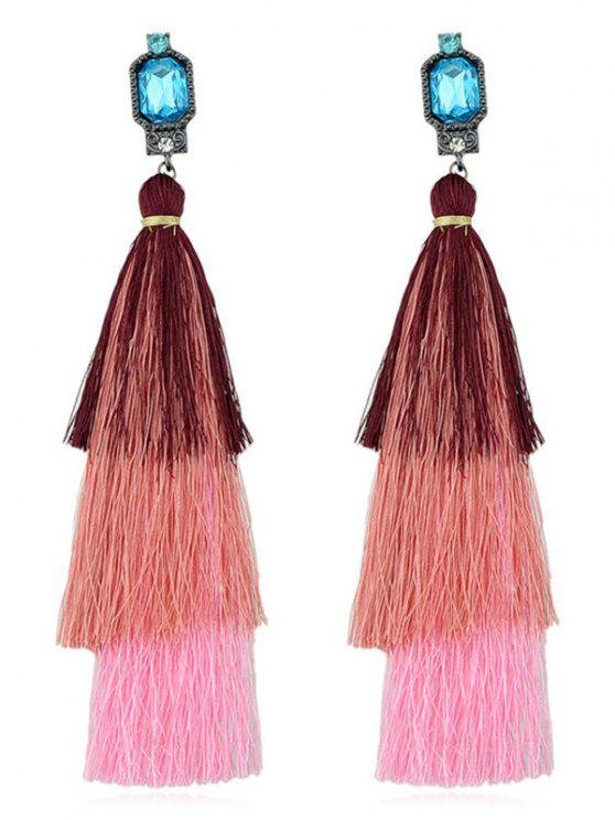 buy Rhinestone Layer Tassel Drop Earrings - PINK