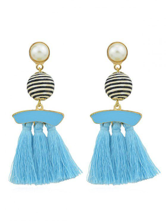 womens Artifical Pearl Tassels Dangle Earrings - BLUE LAGOON