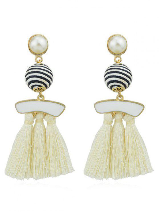 Boucles d'Oreilles Pendantes avec Pompons et Perle Fantaisie - Beige