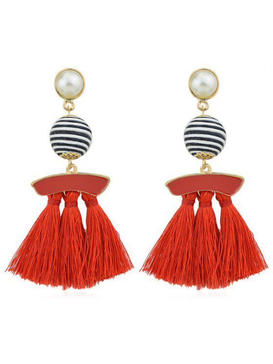 women's Artifical Pearl Tassels Dangle Earrings - RED