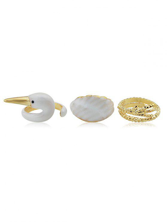 ladies Swan Pattern Alloy Rings Set - GOLD ONE-SIZE
