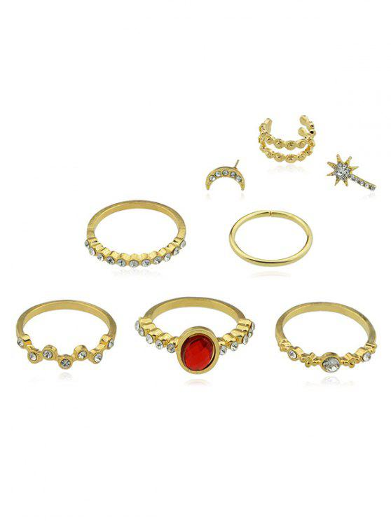 lady Rhinestone Alloy Rings Set with Stud Earrings - GOLD