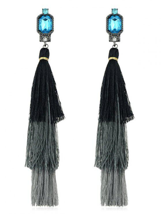 shop Rhinestone Layer Tassel Drop Earrings - BLACK